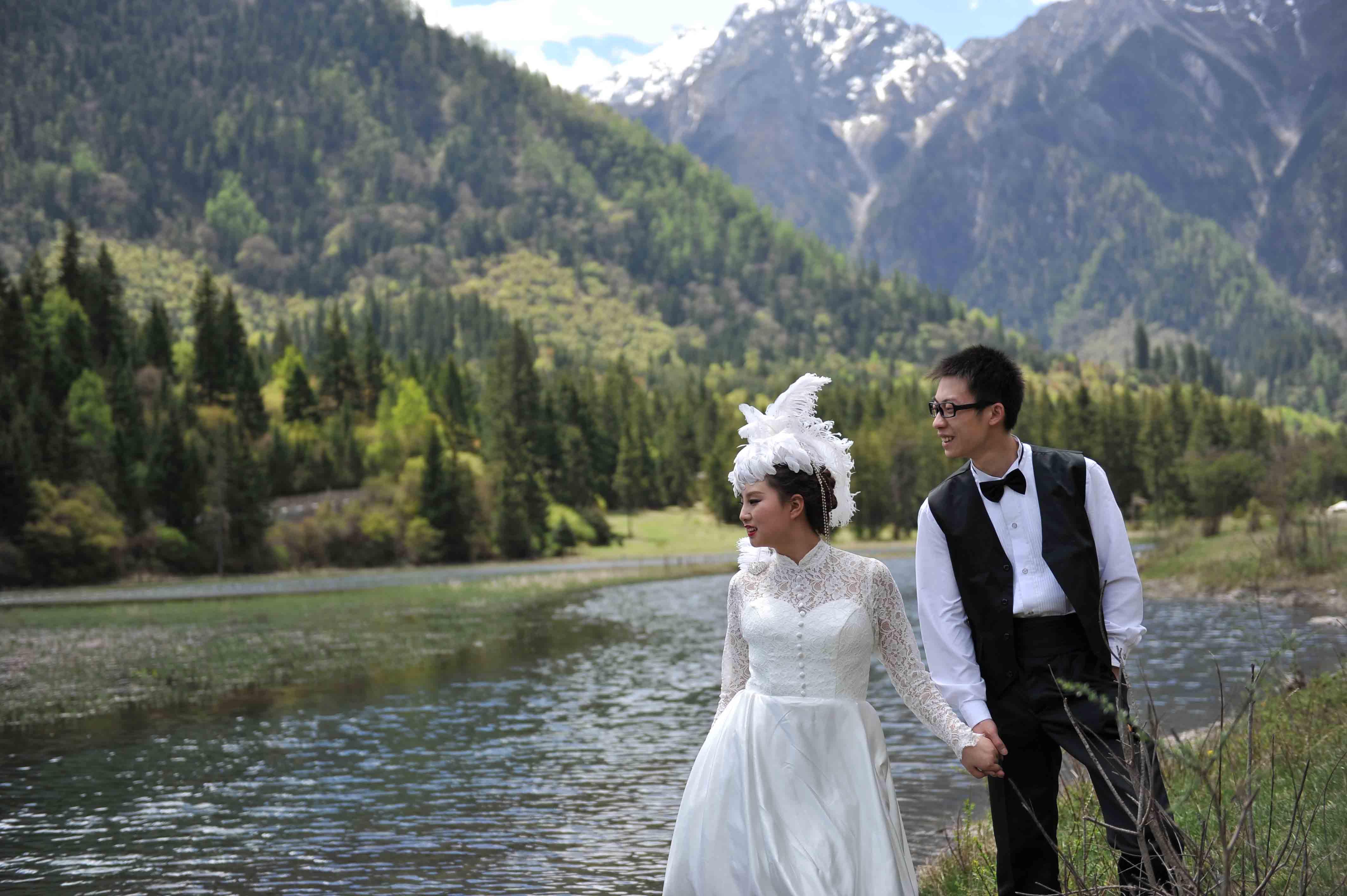 九寨沟婚纱照,旅行婚纱摄影